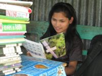 A student with cerebral pulsy is studing at her home